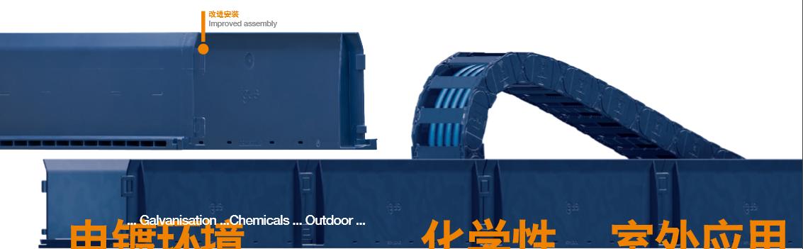 guidelite plus EG – 抗化学腐蚀的拖链导 槽系统