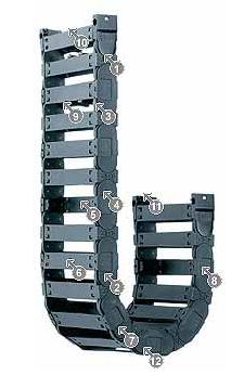 E4.21 拖链系列,每个链节带一个横杆,可沿两侧快速打开
