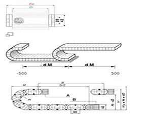 E4.28 拖链系列,每个链节带一个横杆,可沿两侧快速打开