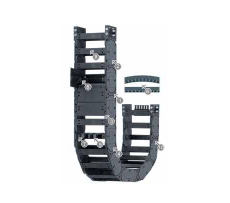 igus E4.28 拖链系列,每个链节带一个横杆,可沿两侧快速打开