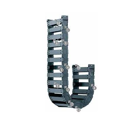 igus E4.21 拖链系列,每个链节带一个横杆,可沿两侧快速打开