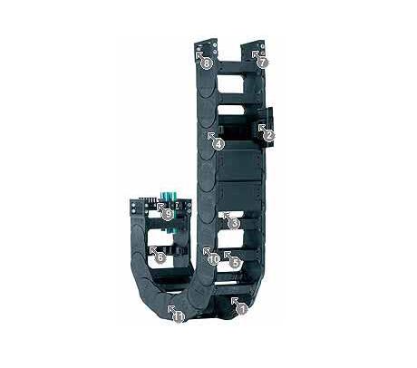 igus 14140系列拖链,可在两侧扣开,每两个链节有横杆