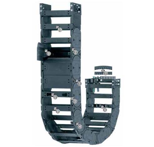 igus E4.42 拖链系列,每个链节带一个横杆,可沿两侧快速打开