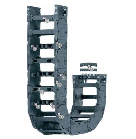 易格斯E4.80 拖链系列,每个链节带一个横杆,可沿两侧快速打开